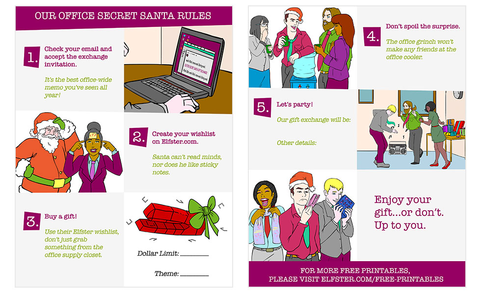 Secret Santa Office Rules Free Printable Holiday Gift