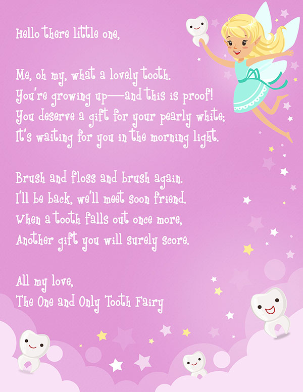 Juicy image in printable tooth fairy letter